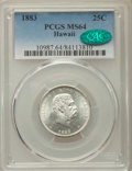 Coins of Hawaii , 1883 25C Hawaii Quarter MS64 PCGS. CAC. PCGS Population: (358/337).NGC Census: (246/276). CDN: $425 Whsle. Bid for problem...