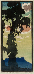 Fine Art - Work on Paper:Print, William S. Rice (American, 1873-1963). Eucalypti- NorthBrac. Woodblock in colors. 7-3/4 x 3-1/2 inches (19.7 x 8.9 cm)...