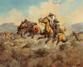 Fine Art - Painting, American, Fred Harman (American, 1902-1982). When the Saddle Turned,1941. Oil on canvas. 24 x 30 inches (61.0 x 76.2 cm). Signed ...