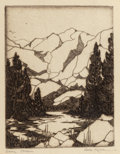 Fine Art - Work on Paper:Print, Gene Kloss (American, 1903-1996). Sierra Stream. Etching.4-1/2 x 3-1/2 inches (11.4 x 8.9 cm) (image). Signed lower rig...