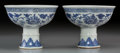 Asian:Chinese, A Pair of Chinese Blue and White Porcelain Stem Bowls, QingDynasty, 19th century. Marks: Six character Xuande mark and of a...(Total: 2 Items)