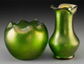 Art Glass:Loetz, Two Loetz-Style Austrian Green Iridescent Glass Vases, circa 1900.7-3/8 inches high (18.7 cm) (taller). ... (Total: 2 Items)