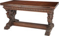 Furniture : Continental, An Renaissance Revival-Style Carved Oak Extension Trestle Table,late 19th century. 31-1/2 h x 32-1/2 w x 60-1/2 d inches (8...(Total: 3 Items)