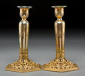 Art Glass:Steuben, A Pair Steuben Intaglio Gold Aurene Glass Candlesticks with Goldwith Gilt Metal Mounts and Gold Aurene Vase with Intaglio Fri...(Total: 4 Items)