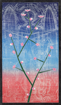John Buck (b. 1946) Cherry Blossom Time, 1988 Woodcut in colors on paper 64 x 37 inches (162.6 x