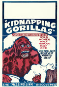 "Movie Posters:Exploitation, Love Life of a Gorilla (Jewel Productions, R-1940s). One Sheet (28"" X 41"") Reissue Title: Kidnapping Gorillas.. ..."