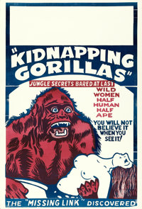 "Love Life of a Gorilla (Jewel Productions, R-1940s). One Sheet (28"" X 41"") Reissue Title: Kidnapping Gorillas..."