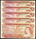 Canadian Currency: , BC-47aA $2 1974 Replacement Notes Five Examples. ... (Total: 5notes)