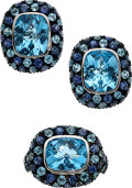 Estate Jewelry:Suites, Blue Topaz, Sapphire, White Gold Jewelry Suite, Craig Drake. ...(Total: 2 Items)