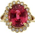 Estate Jewelry:Rings, Pink Tourmaline, Diamond, Gold Ring The ring f...