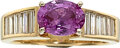 Estate Jewelry:Rings, Pink Sapphire, Diamond, Gold Ring The ring fea...