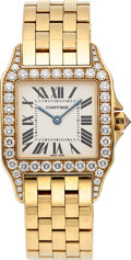 Estate Jewelry:Watches, Cartier Lady's Diamond, Gold Santos Demoiselle Midsize Watch. ...