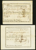 Colonial Notes:Connecticut, Connecticut Pay Table Office 1783-87.. 10s Apr. 15, 1783 XF;. £6.19May 21, 1787 AU, pinholes and small edge tears.... (Total: 2 notes)