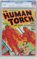 Golden Age (1938-1955):Superhero, The Human Torch #2 (#1) (Timely, 1940) CGC FN/VF 7.0 Cream to off-white pages....