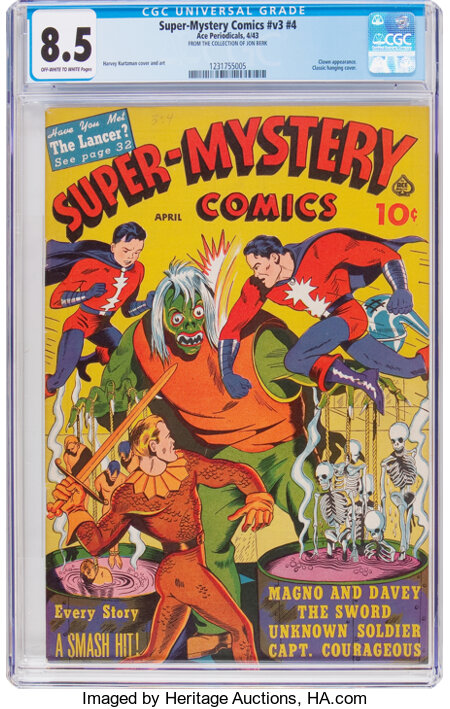 Super-Mystery Comics V3#4 (Ace, 1943) CGC VF+ 8.5 Off-white to white pages....