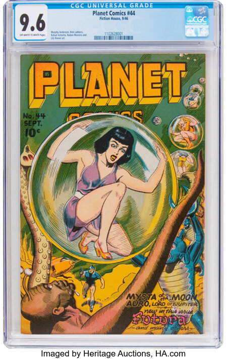 Planet Comics #44 (Fiction House, 1946) CGC NM+ 9.6 Off-white to white pages....