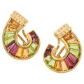 Estate Jewelry:Earrings, Diamond, Multi-Stone, Gold Earrings. ...