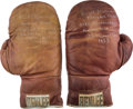 Boxing Collectibles:Memorabilia, 1955 Rocky Marciano Gloves Worn in Training for Don Cockell Bout....