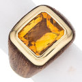 Estate Jewelry:Rings, Citrine, Wood, Gold Ring. ...