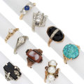 Estate Jewelry:Rings, Diamond, Multi-Stone, Cultured Pearl, Gold Rings. ... (Total: 9 Items)