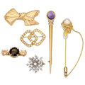 Estate Jewelry:Brooches - Pins, Diamond, Multi-stone, Cultured Pearl, Gold Brooches. ... (Total: 6 Items)
