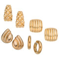 Estate Jewelry:Earrings, Gold Earrings . ... (Total: 4 Items)