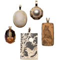 Estate Jewelry:Pendants and Lockets, Multi-Stone, Diamond, Mabe Pearl, Gold Pendants. ... (Total: 5Items)
