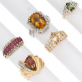 Estate Jewelry:Rings, Multi-Stone, Diamond, Gold Rings. ... (Total: 5 Items)