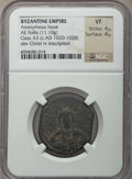 Ancients:Byzantine, Ancients: Anonymous. Class A3 (ca. AD 1020-1028). AE follis (11.10gm). NGC VF 4/5 - 4/5....