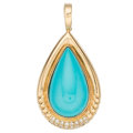 Estate Jewelry:Pendants and Lockets, Turquoise, Diamond, Gold Enhancer-Pendant. ...