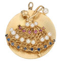 Estate Jewelry:Pendants and Lockets, Multi-Stone, Cultured Pearl, Gold Pendant. ...