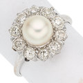 Estate Jewelry:Rings, Cultured Pearl, Diamond, White Gold Ring The r...