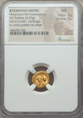 Ancients:Byzantine, Ancients: Heraclius (AD 610-641) and Heraclius Constantine (AD613-641). AV solidus (4.53 gm). NGC MS 3/5 - 5/5....