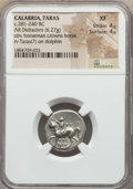 Ancients:Greek, Ancients: CALABRIA. Tarentum. Ca. 272-240 BC. AR stater or didrachm(6.27 gm). NGC XF 4/5 - 4/5....