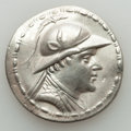 Ancients:Greek, Ancients: BACTRIAN KINGDOM. Eucratides I Megas (ca. 170-145 BC). AR tetradrachm (16.58 gm). VF, wavy flan, graffito....