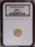 Commemorative Gold: , 1922 G$1 Grant with Star MS63 NGC. PCGS Population (218/1668). NGCCensus: (85/883). Mintage: 5,016. Numismedia Wsl. Price:...