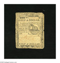 Colonial Notes:Continental Congress Issues, Continental Currency February 17, 1776 $1/2 Very Good. The cornersare rounded and an approximate half inch tear is noticed....