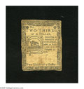 Colonial Notes:Continental Congress Issues, Continental Currency February 17, 1776 $2/3 Very Good. Franklin'sFugio design is found on note. The signatures are weak as ...