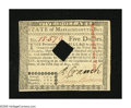 Colonial Notes:Massachusetts, Massachusetts May 5, 1780 $5 Choice New, COC. The guarantee on theback has been signed by Thomas Walley, a scarcer signatur...