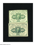 Fractional Currency:First Issue, Fr. 1242 10c First Issue Fine.. Fr. 1243 10c First Issue Fine.. Here are straight edge examples of this design with and ... (Total: 2 notes)