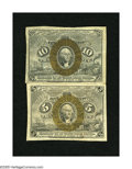 "Fractional Currency:Second Issue, Fr. 1233 5c Second Issue Fine . Fr. 1244 10c Second Issue Fine . The Fr. 1233 has only remnants of its ""18-63"" surcharge... (Total: 2 notes)"