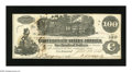 Confederate Notes:1862 Issues, T39 $100 1862. Ink erosion is noticed on this Crisp Uncirculatednote....