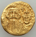 Ancients:Byzantine, Ancients: Constans II (AD 641-668) & Constantine IV (AD654-685). AV solidus (4.21 gm). About VF, clipped....