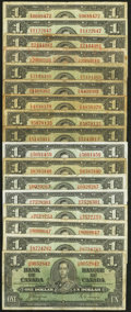 Canadian Currency: , BC-21a $1 1937 Seven Examples;. BC-21d $1 1937 Ten Examples. ...(Total: 17 notes)