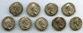 Ancients:Ancient Lots , Ancients: GROUP LOTS. Roman Imperial. Lot of nine (9) Commodus (AD177-192). AR denarii. Fine-VF.... (Total: 9 coins)
