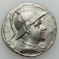 Ancients:Greek, Ancients: BACTRIAN KINGDOM. Eucratides I Megas (ca. 170-145 BC). AR tetradrachm (16.56 gm). Choice VF, graffito.  ...