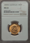 Australia, Australia: Edward VII gold Sovereign 1909-M MS63 NGC,...