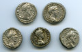 Ancients:Ancient Lots , Ancients: GROUP LOTS. Roman Imperial. Lot of five (5) Commodus (AD177-192). AR denarii. About VF-VF.... (Total: 5 coins)