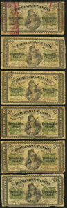 Canadian Currency: , DC-1c 25¢ 1870 Six Examples. ... (Total: 6 notes)