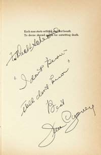 """James Cagney: """"Cagney By Cagney"""" (New English Library, 1976). Inscribed Hardcover Book (202 Pages, 5.5"""" X..."""